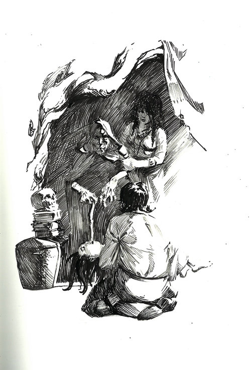 Witch $315 Ink drawing on 17x28cm paper