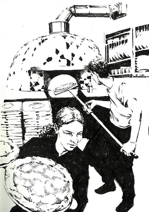 Pizzeria $315 Ink drawing on 17x28cm paper
