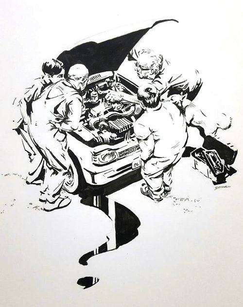 Engine Trouble $400 Ink drawing on 17x28cm paper