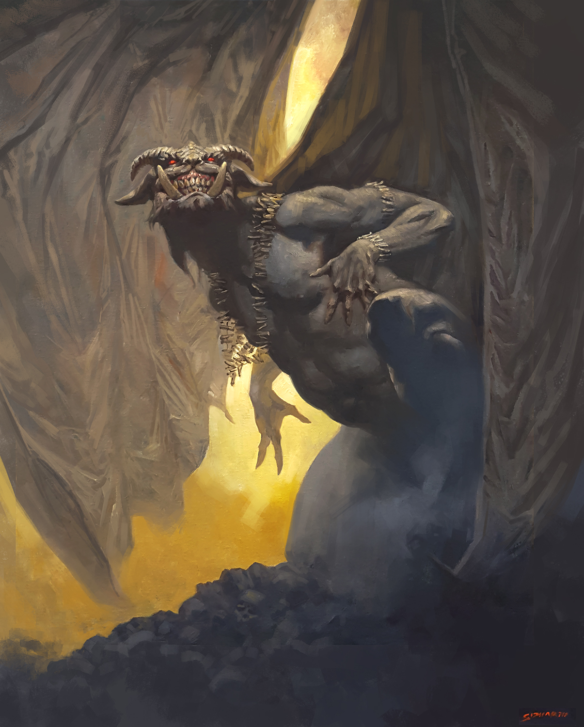 """Magic: The Gathering - Demon Oil on 16x20"""" Canvas - Sold © Wizards of the Coast"""