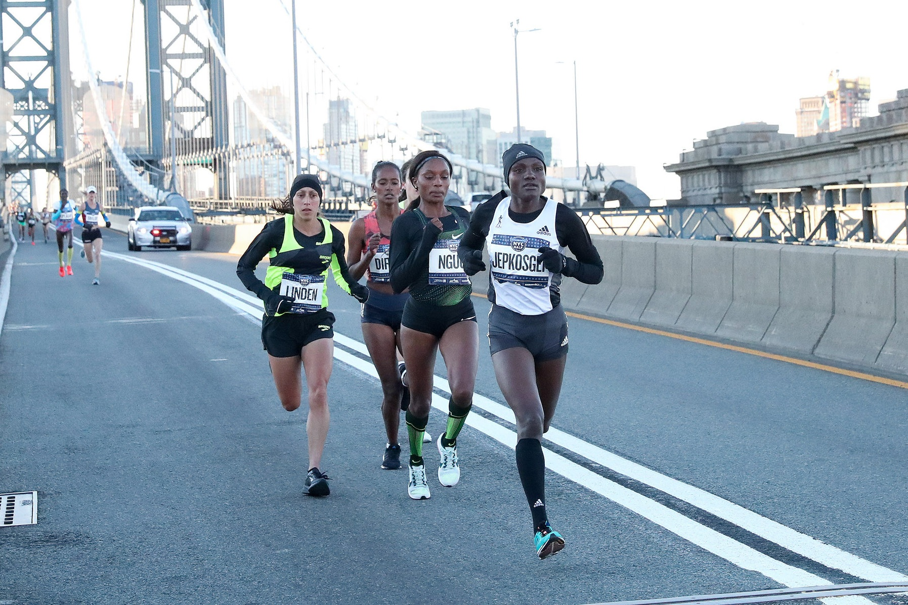 Ngugi, shown here in the lead pack at the 2019 United Airlines NYC Half, knows that she'll once again learn a lot from racing on the streets of NYC.