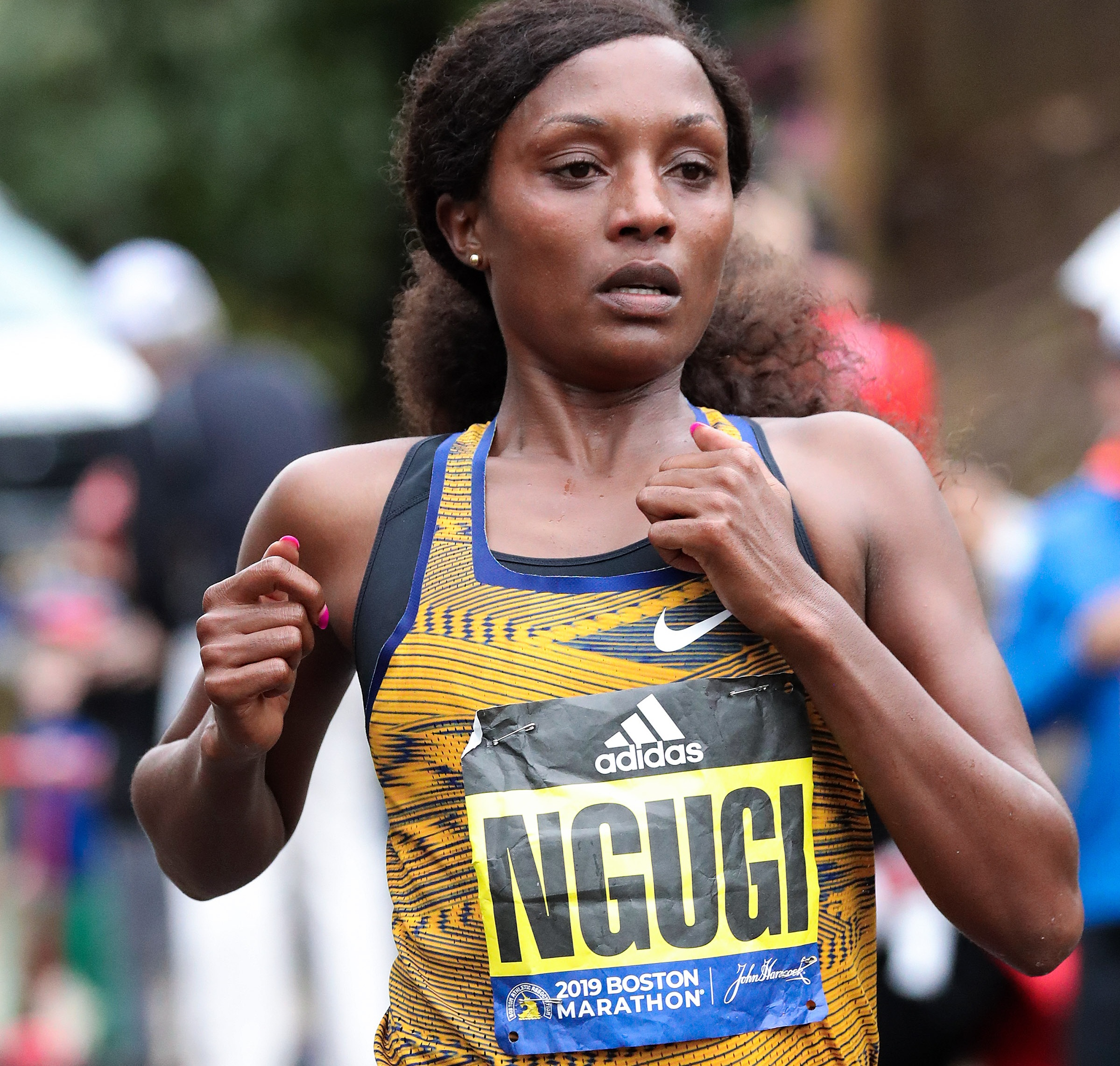Ngugi was seventh in 2:28:33 at the 2019 Boston Marathon, her debut at the distance.