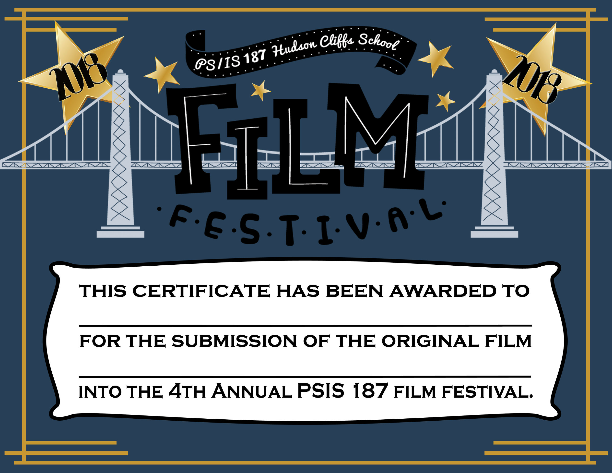 Redesign of 187 Film Festival Certificate