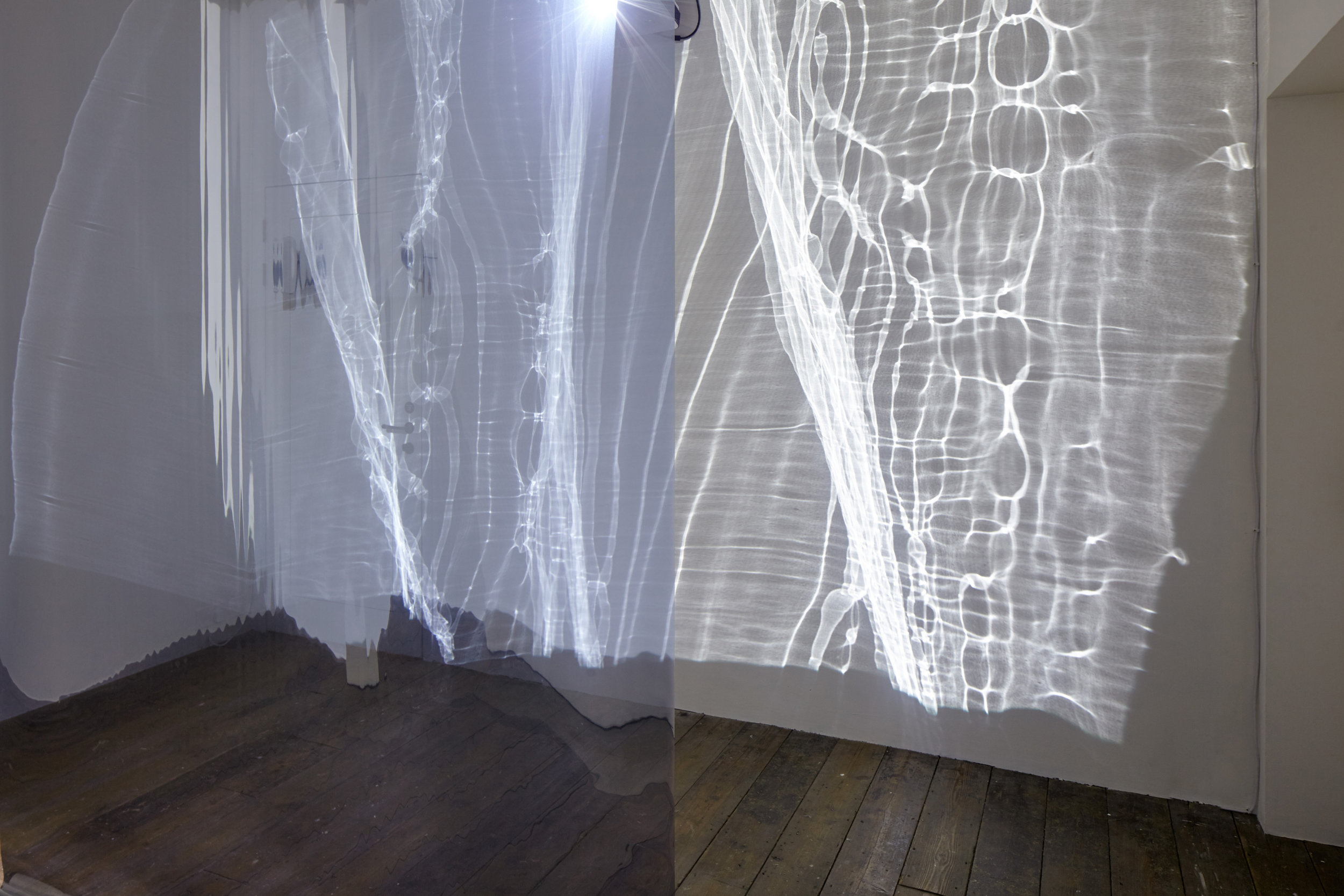 Your Double My Double Our Ghost - Exploring intimacy, interaction and perception through multi-sensory projection, optical sheeting, reflection, lighting, and sonic composition.