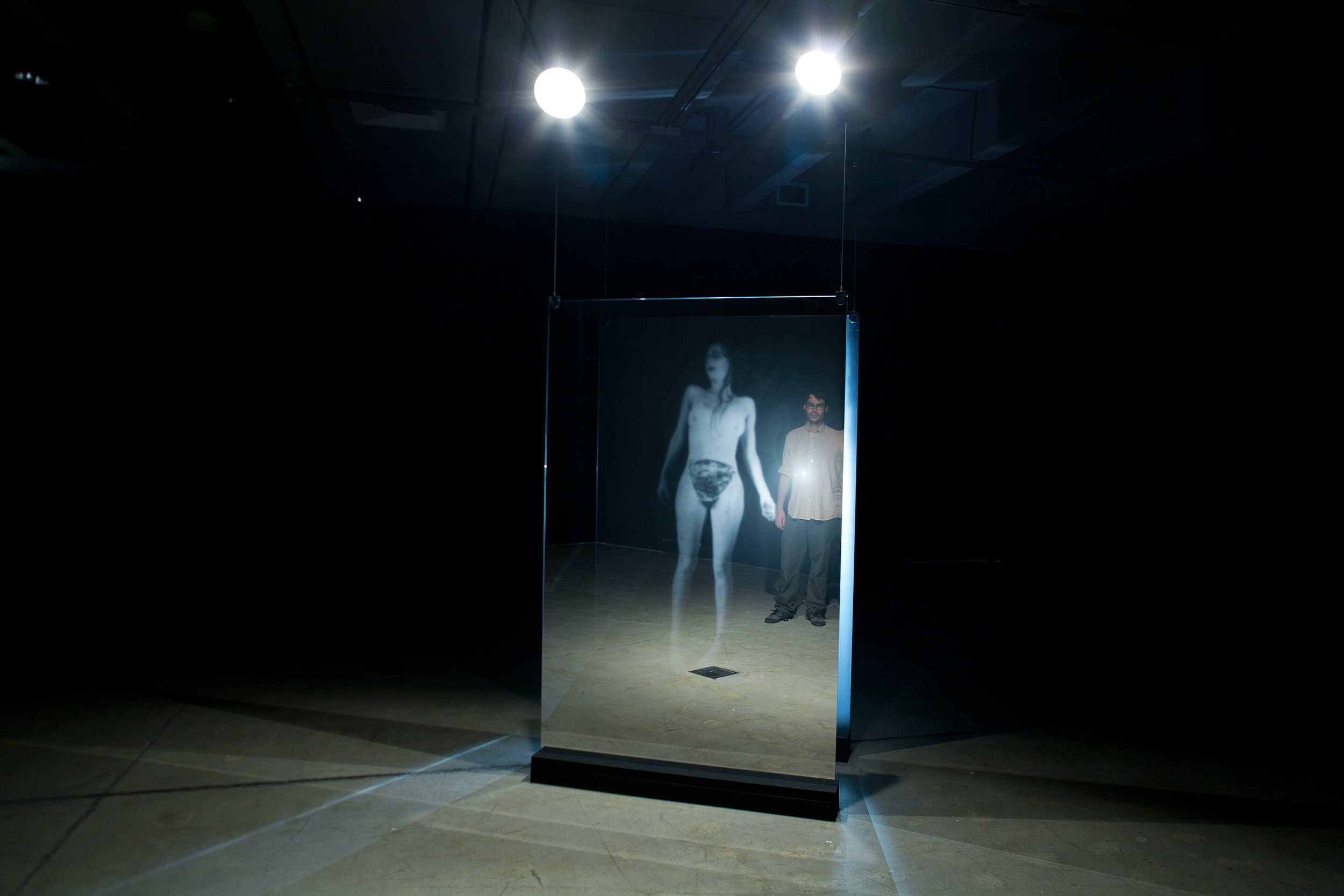 Out Of Body Out Of Mind - Large scale participatory installation touching on presence and absence, the embodied and the virtual incorporating the viewer's own reflection.