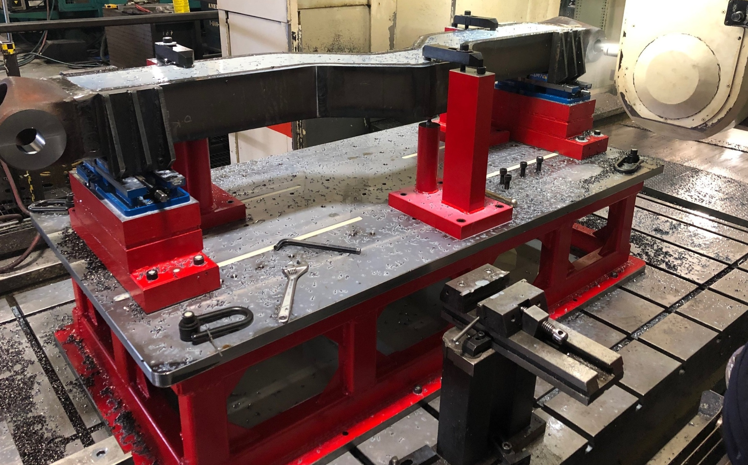 Fabricated and machined fixture being used on 5-axis CNC machine