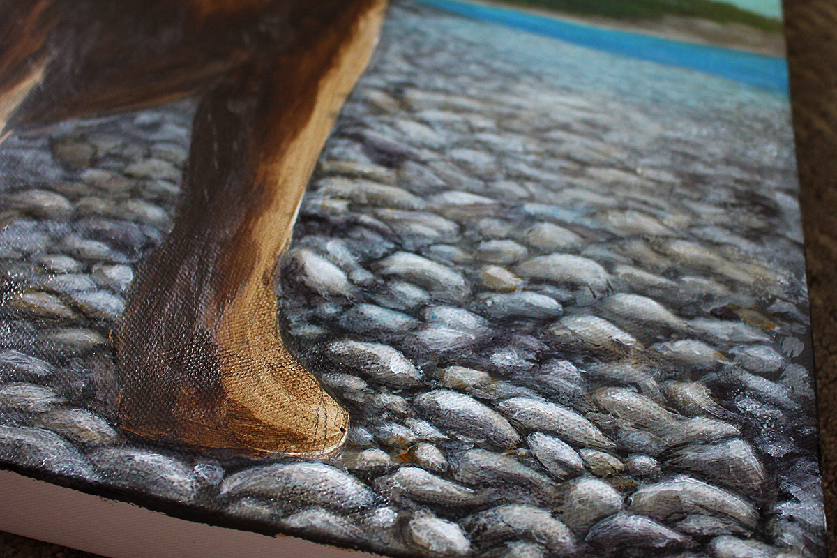 """This is a progress shot of a little snippet of the background for a current commission. 16""""x20"""", acrylics on canvas."""