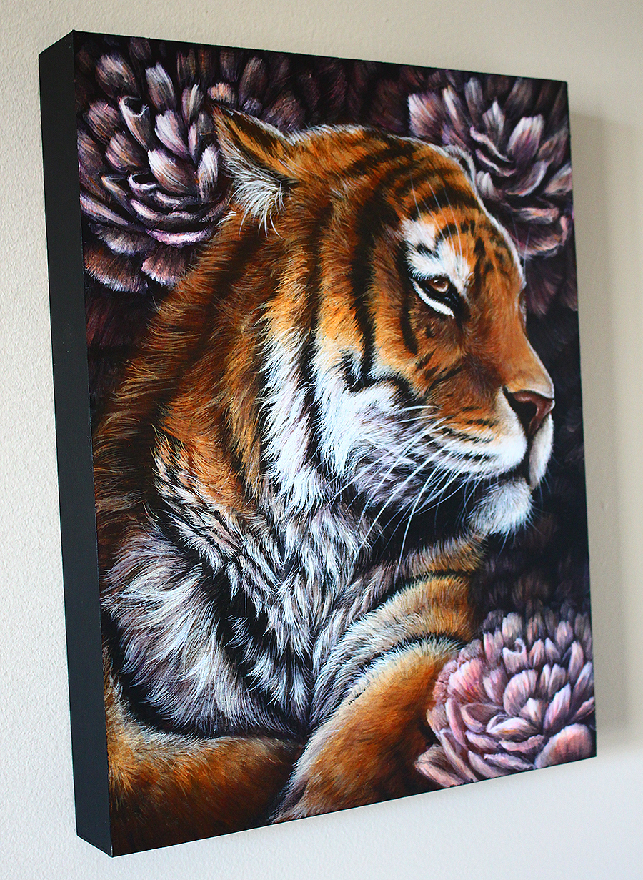 """Elegant Eclipse"" Purchase :  https://www.etsy.com/ca/listing/256452156/original-tiger-painting-with-peonies"