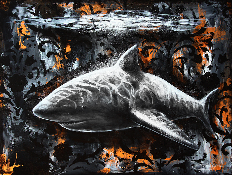 surreal shark painting