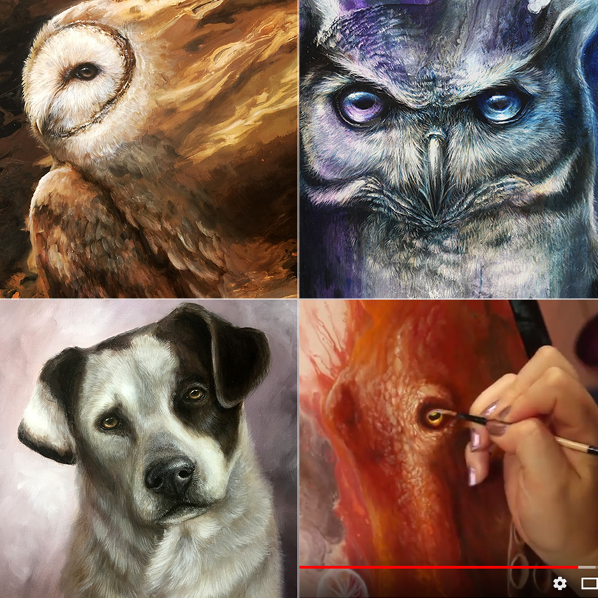 """March Highlights  Top Left: Little work-in-progess of another barn owl commission. Now is the fun detail phase! Top Right: New painting """"Nebula"""" - a godly heterochromic Great Horned Owl Bottom Left: I closed my commissions for a long time, but I recently decided to take a few to throw something different into my art game. This lovely pup is almost completed, just a few more glaze layers to pull everything together. Bottom Right: Did you know that I have a Youtube channel? I upload timelapse videos and tutorials! Check it out here:  Youtube Channel"""