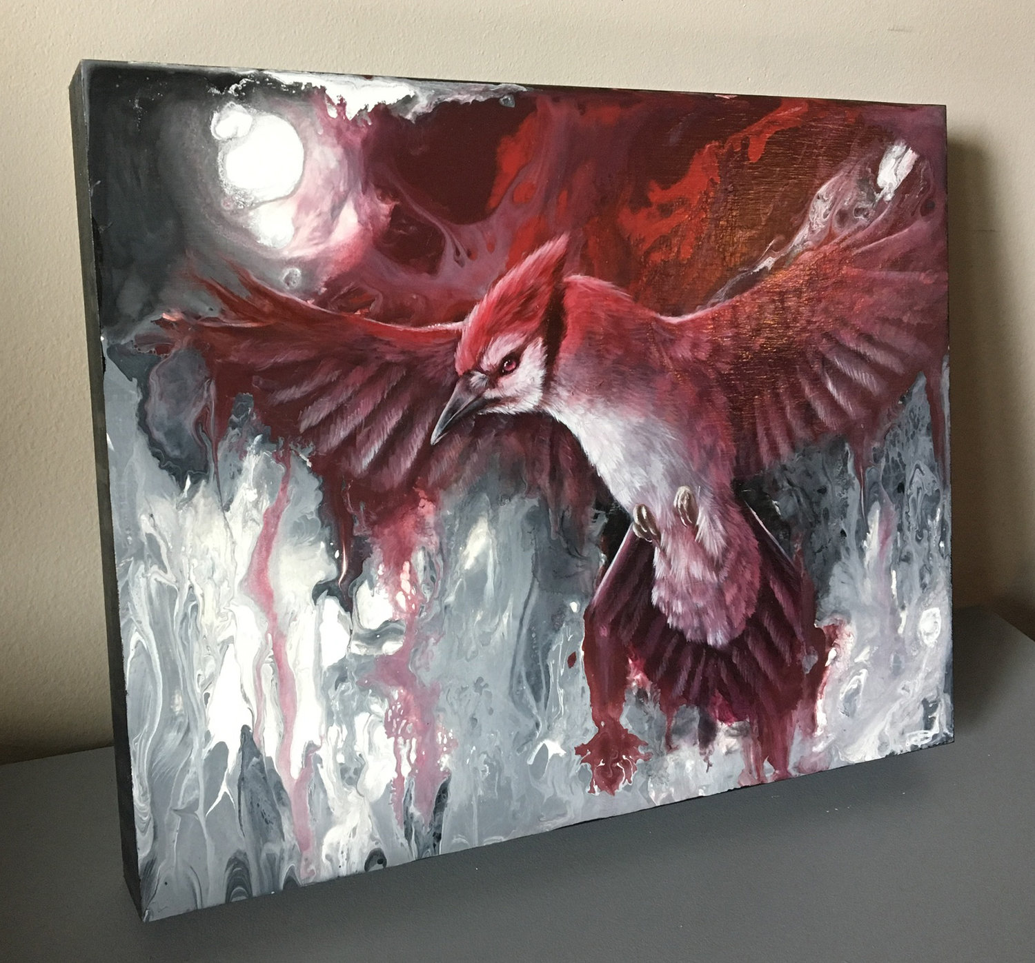 red blue jay cardinal surreal oil painting