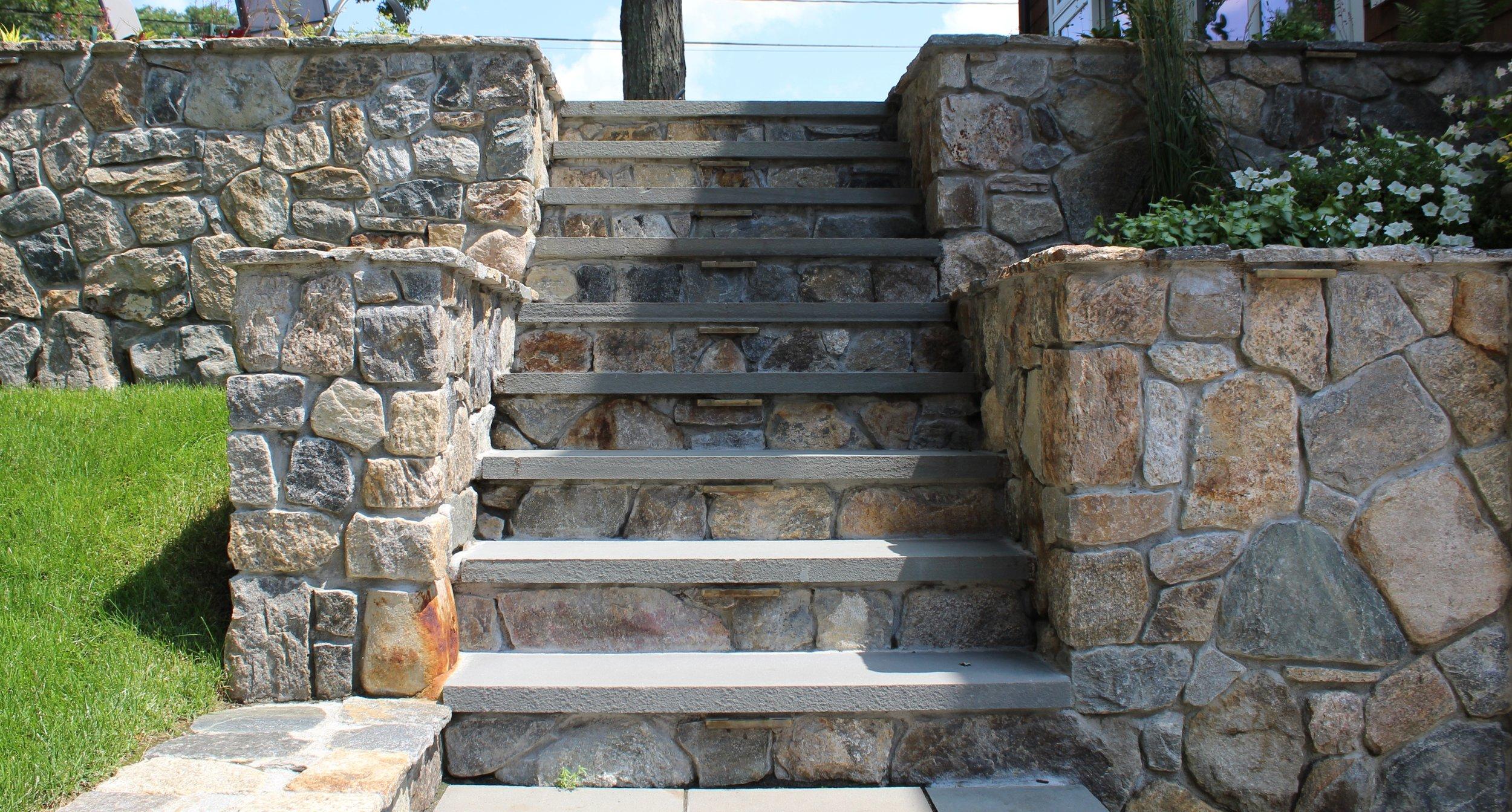 new england flat fieldstone stairs with bluestone tread