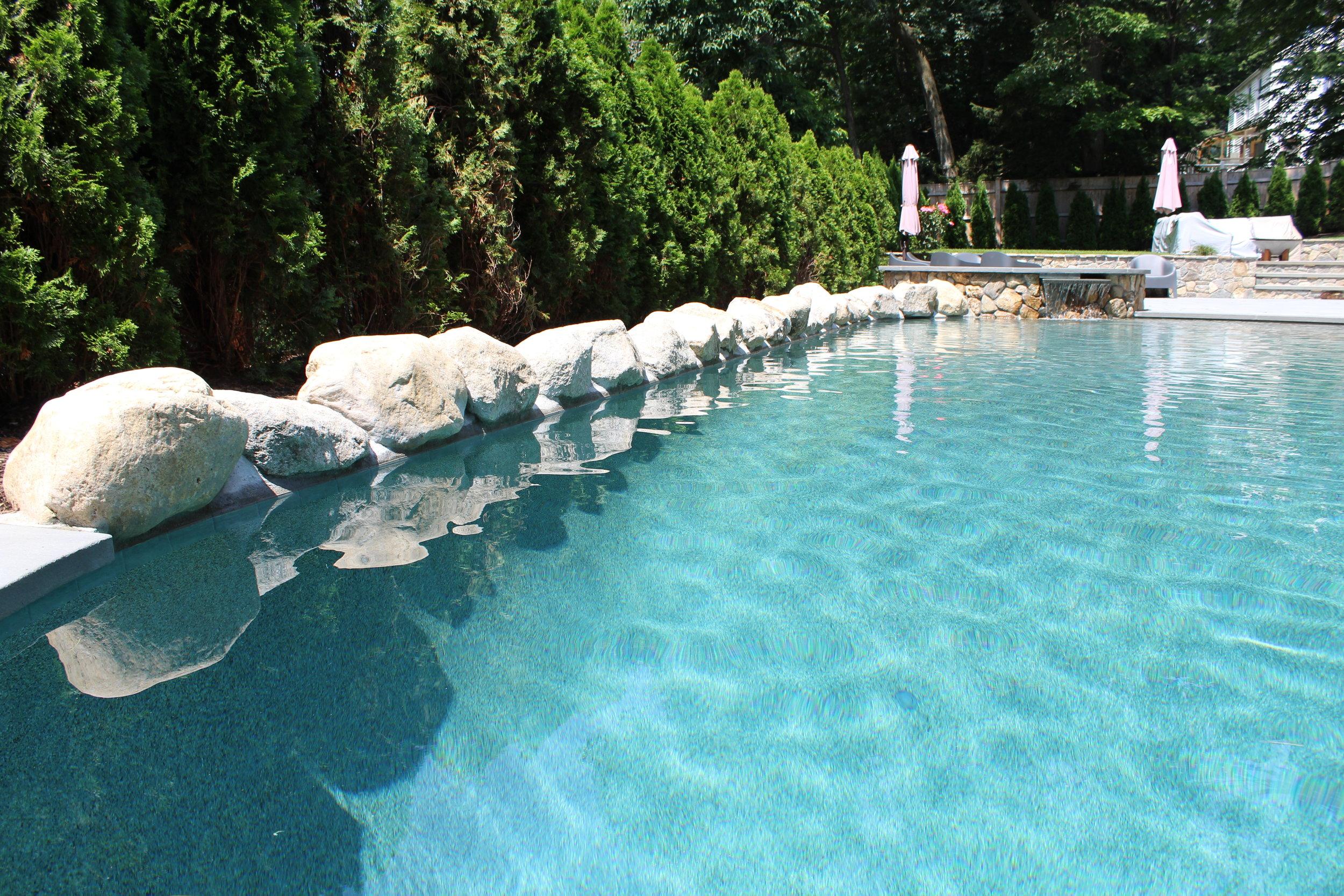 boulders -  pool edge