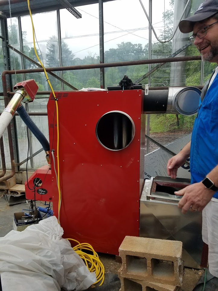 Sunburst Chef and Farmer was also able to get a wood pellet heating system installed in the greenhouse. This system was provided by Carolina Land & Lakes RC&D Council and Southwestern NC RC&D Council.