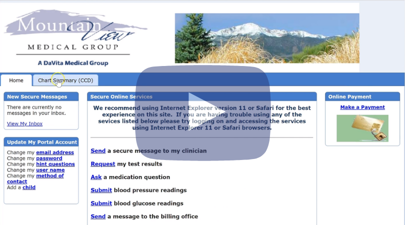 Health summary download - Example taken from a doctor's office, medical mountain group in Colorado Springs, CO.