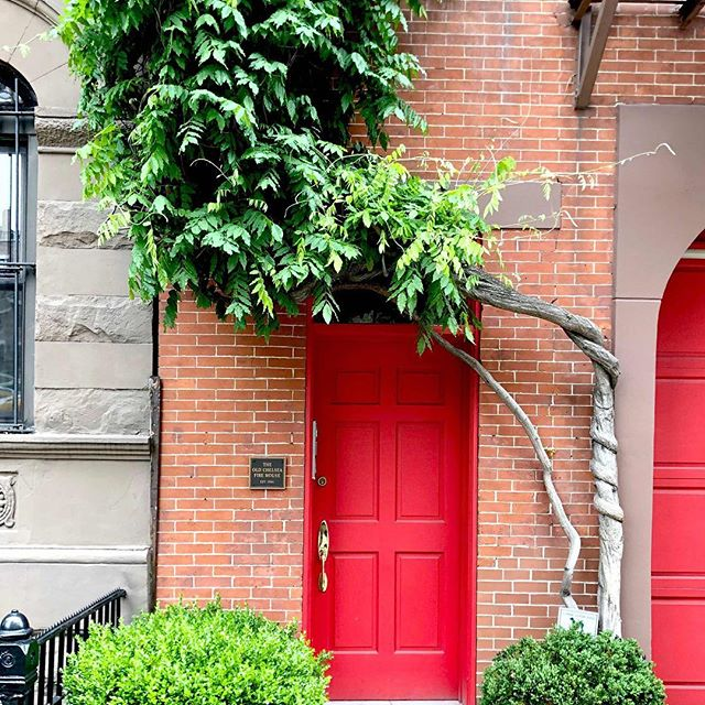 Starting a new project in Chelsea a few doors down from the Old Chelsea Firehouse pictured here.  The building is circa 1864 and looks like the wisteria maybe too.  #historicpreservation #firehouse #red #spring #details