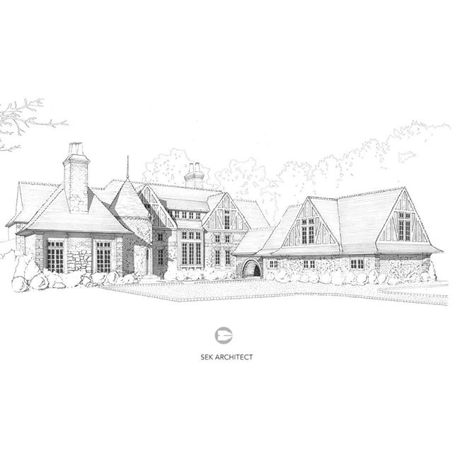 Concept drawing for Norman inspired new home in Bergen County designed and drawn by @sek_architect #alpinenj #customhomes #luxury #dreamhome #norman #tudor #interiordesign #teamwork @aiacnj #brick @slate