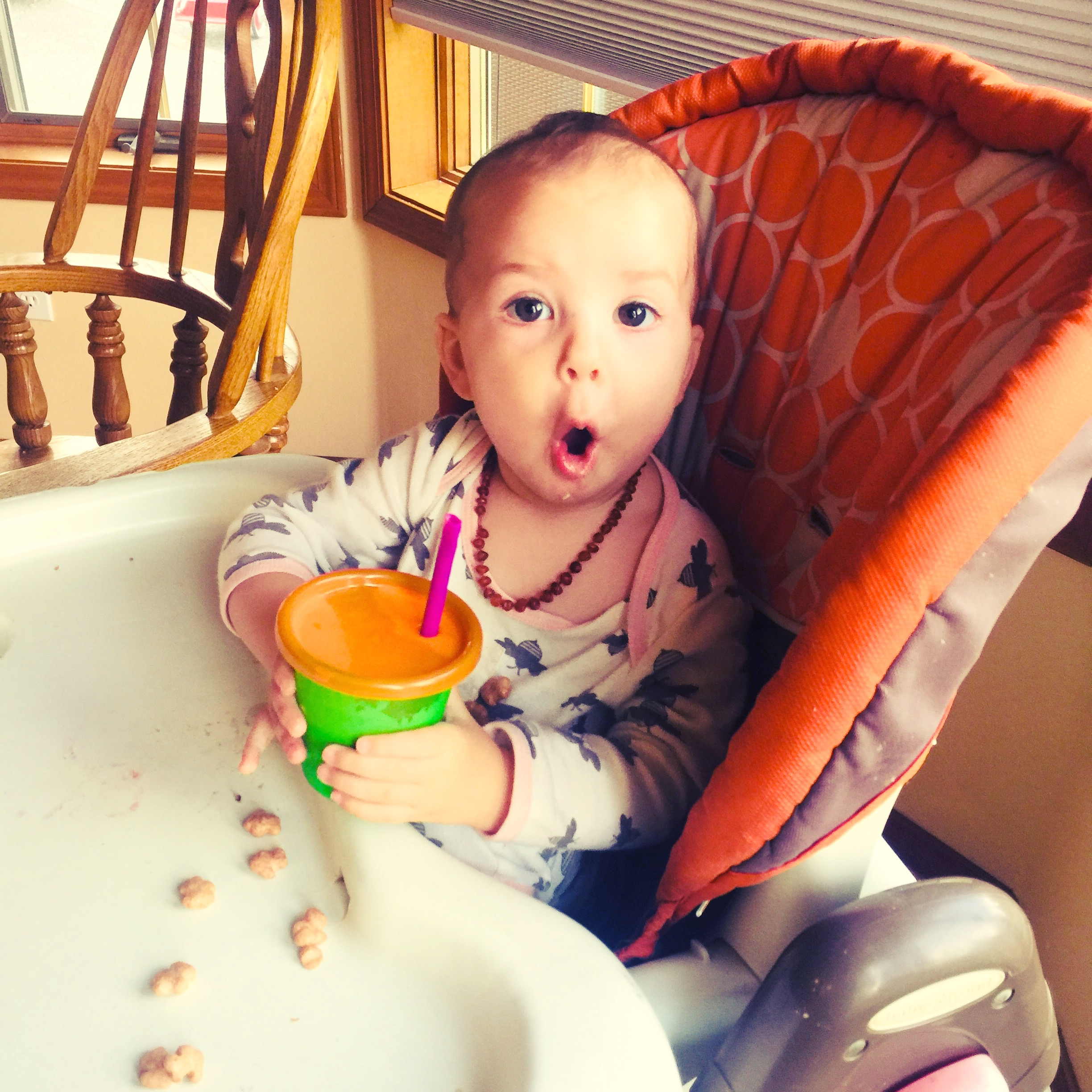 My one year old, Ellie, enjoying her super iron rich superfood smoothie! Recipe at end!