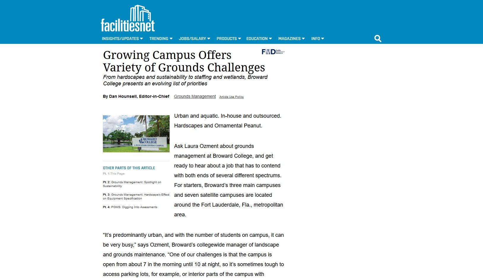 Broward College entrance (FacilitiesNet)