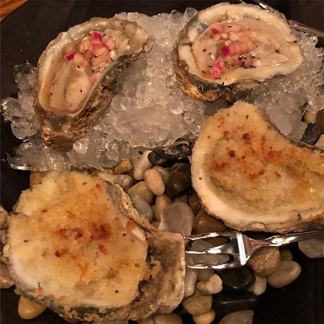 Fire & Ice Oysters, for when you can't decide. #bakedoysters #rawoysters #theworldisyouroyster #junebarlovers #monthoflove