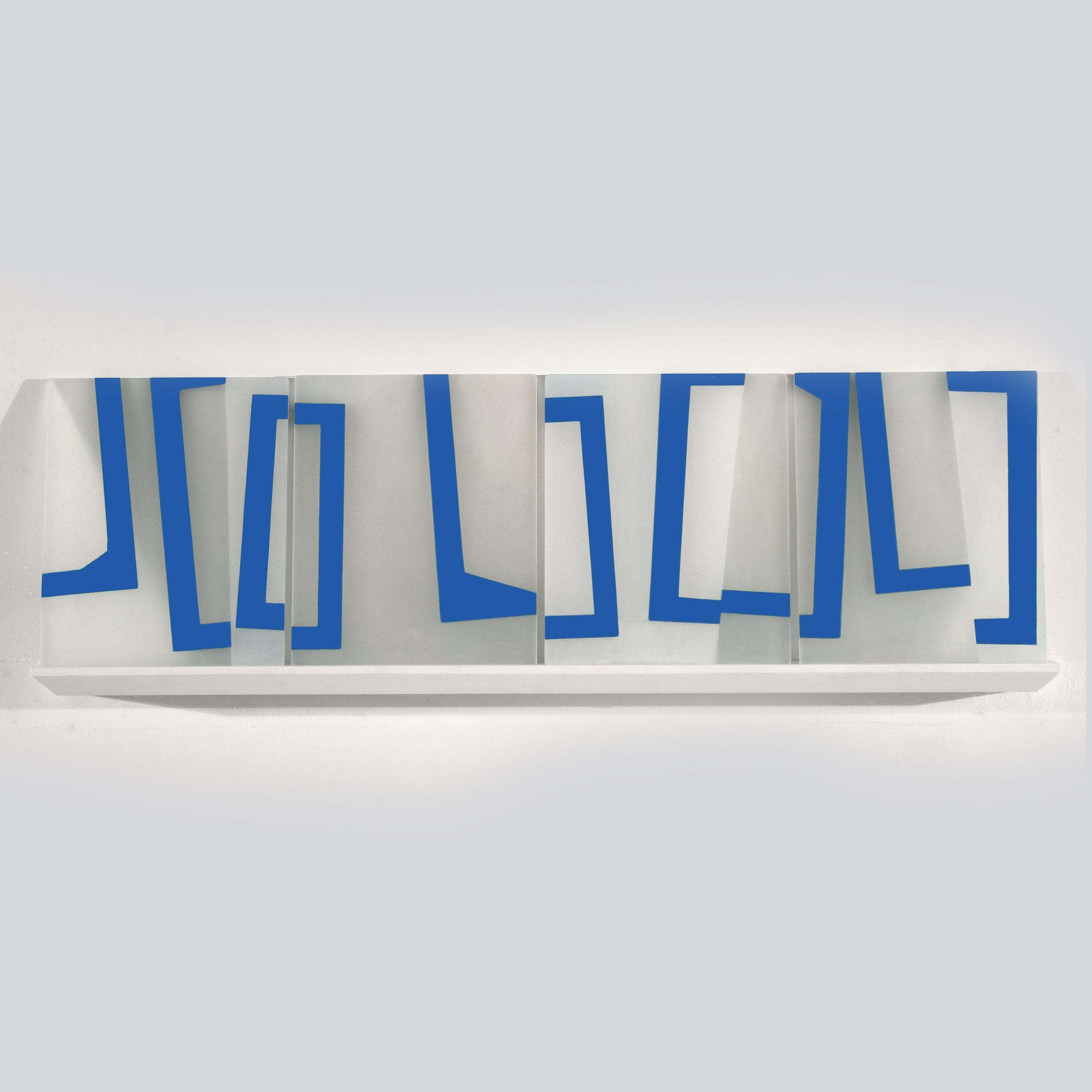 Mobility of Frames K1     2018     acrylic on plexiglass, shelf     13 x 37.5 inches