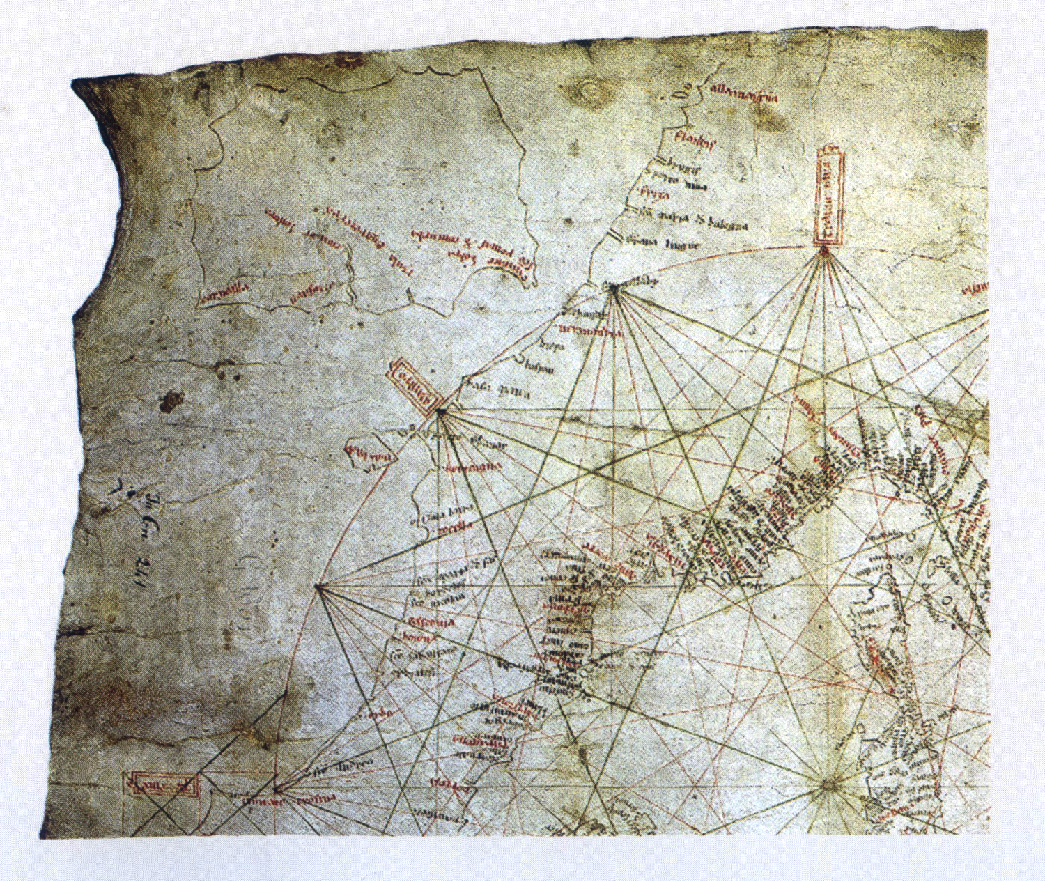 Figure 8: The  Carta Pisana,  a portolano chart. End of 13th century (detail)