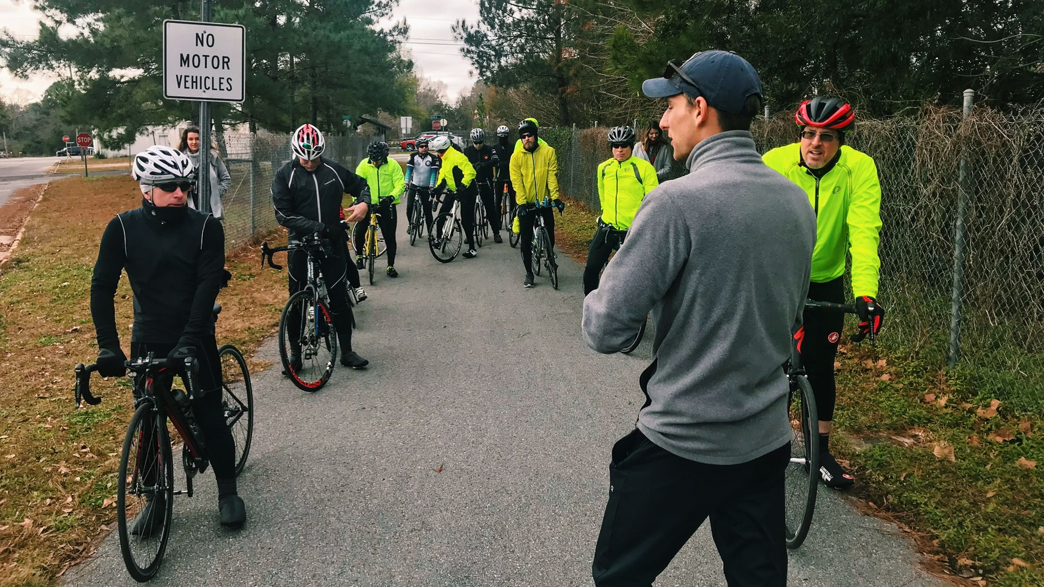 Fit For Hope Co-founder, Jake Vermillion, detailing the route before riders set-out for a day of cold-weather riding.
