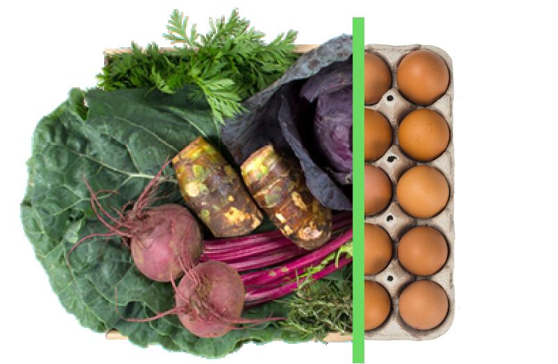 Vegetais + ovos - BENEFÍCIOS INCLUSOS> Sua cesta personalizada> + 1 dúzia de ovos orgânicos> Apenas + R$ 18,50 por entrega