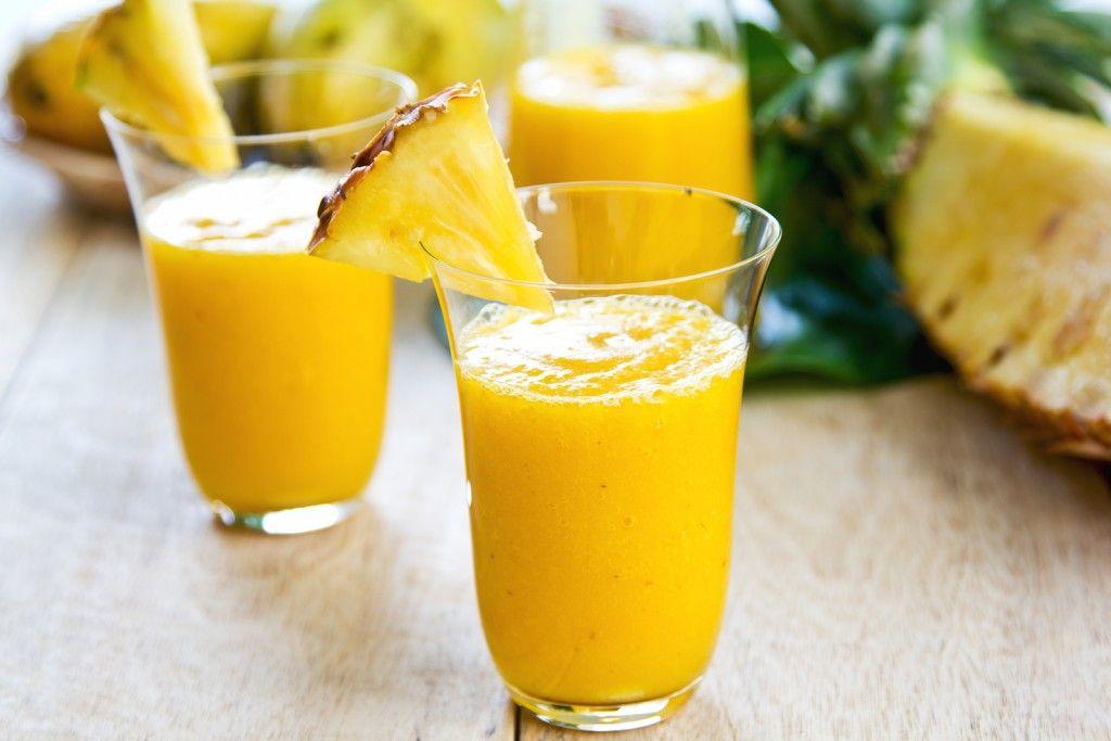 1/2 cup almond milk.  1/2 fresh or frozen medium  banana .  1 cup fresh or frozen  pineapple  chunks.  1 tsp diatomaceous earth