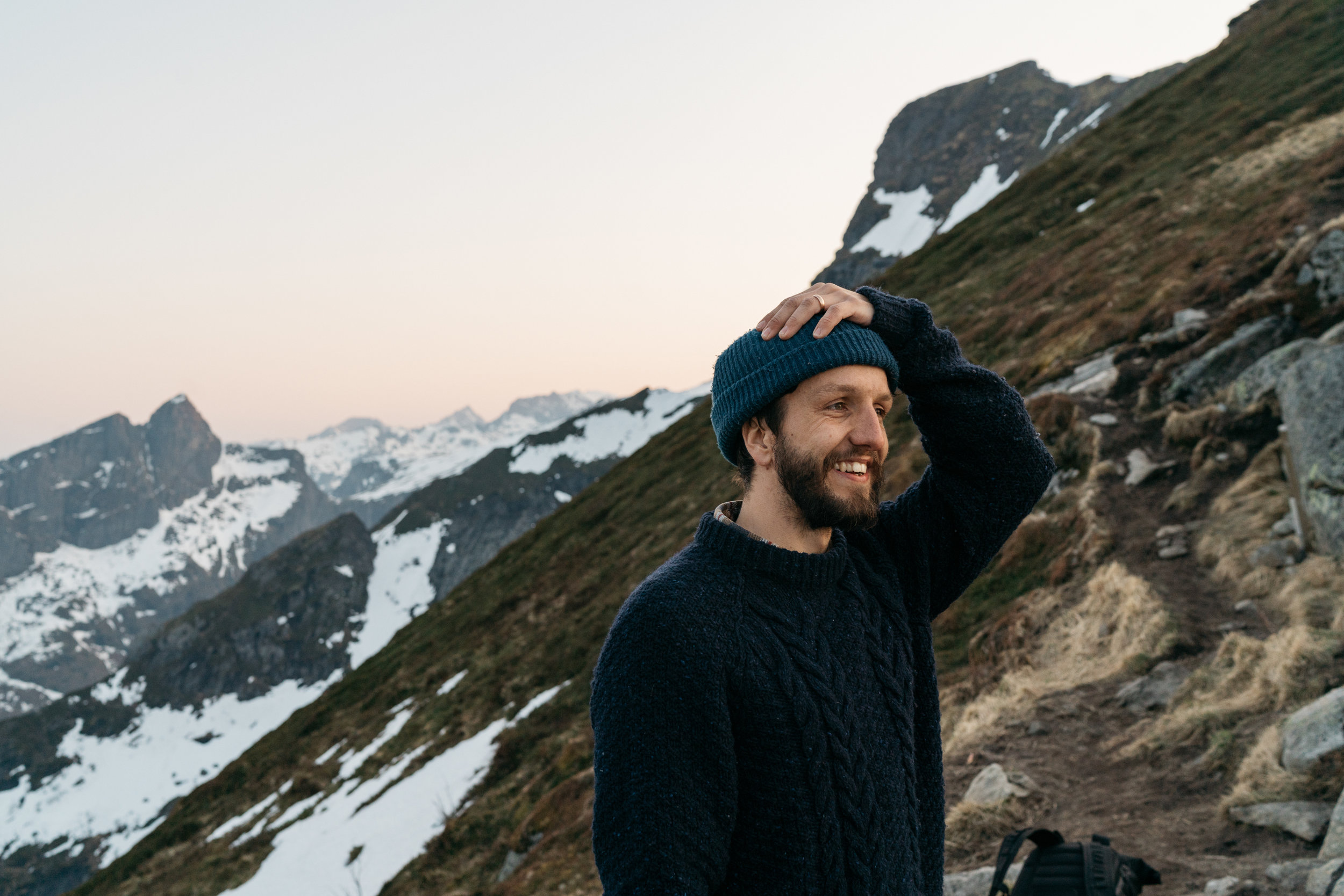 Craigs  face when he saw the view form Reinebringen