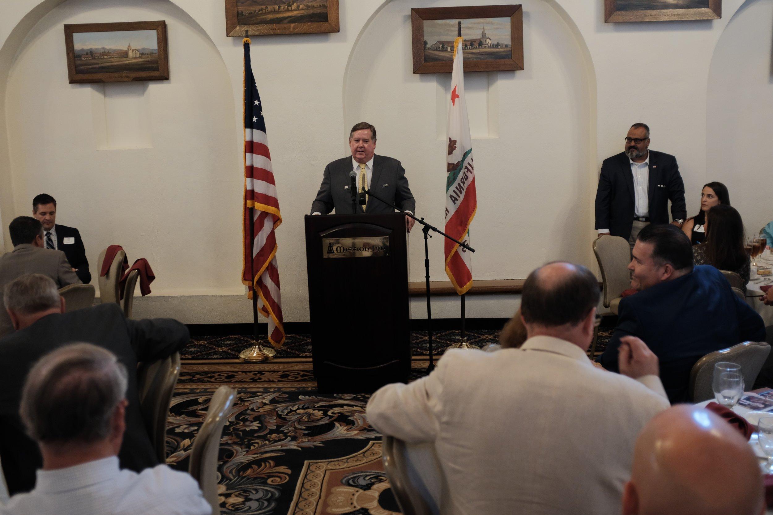 Congressman Ken Calvert speaking at today's Lincoln Club Meeting.