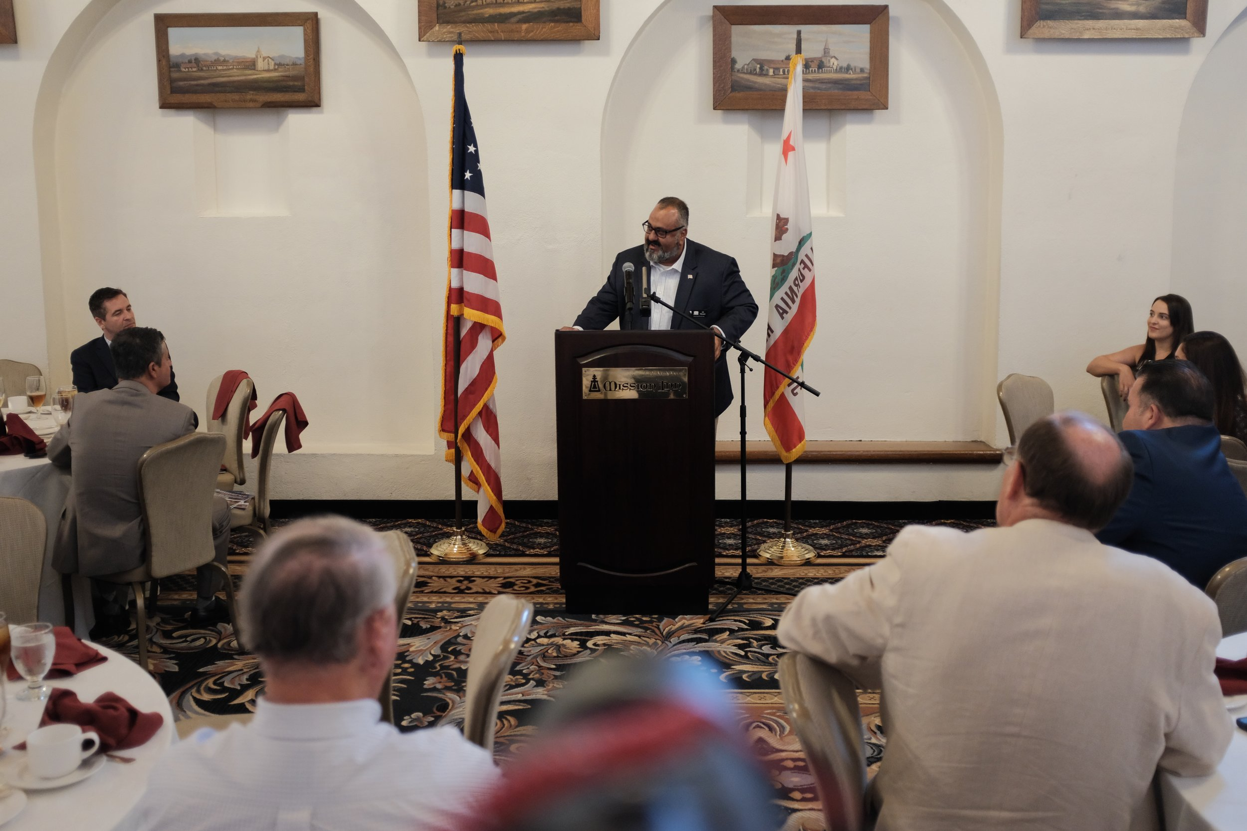 Ali Mazarei speaking at today's Lincoln Club Meeting.