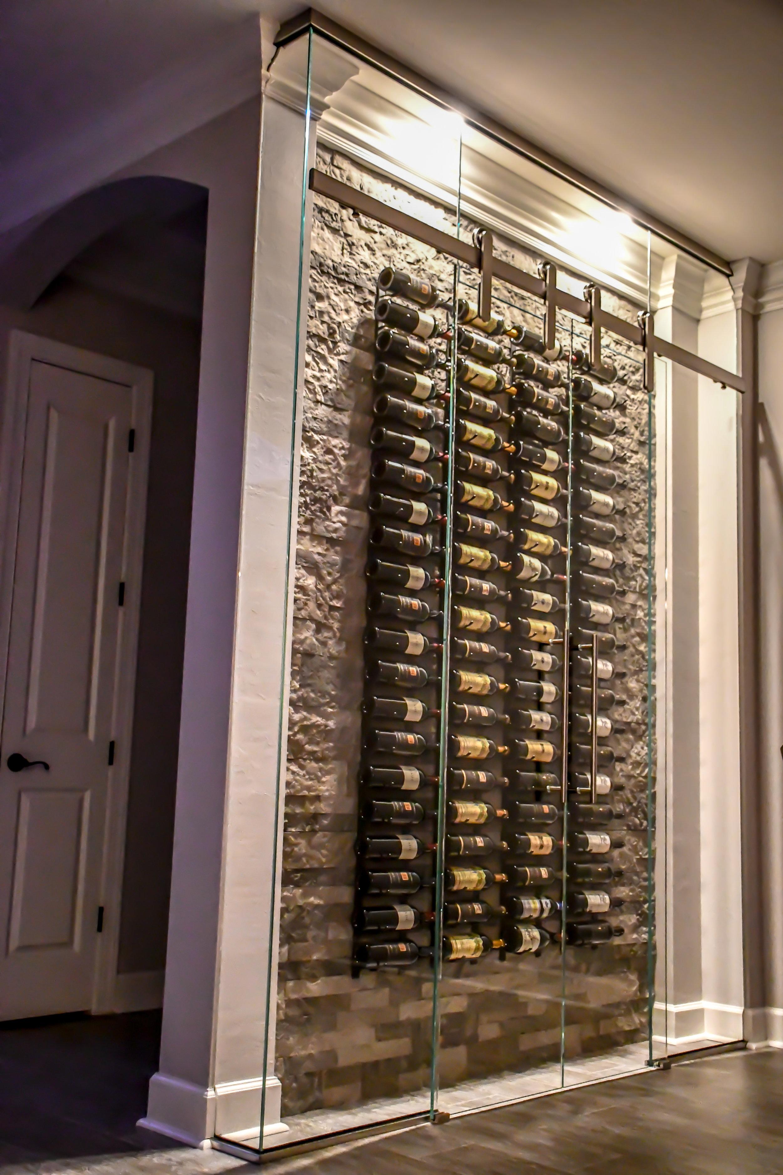Custom Wine Rack with Sliding Glass  Door