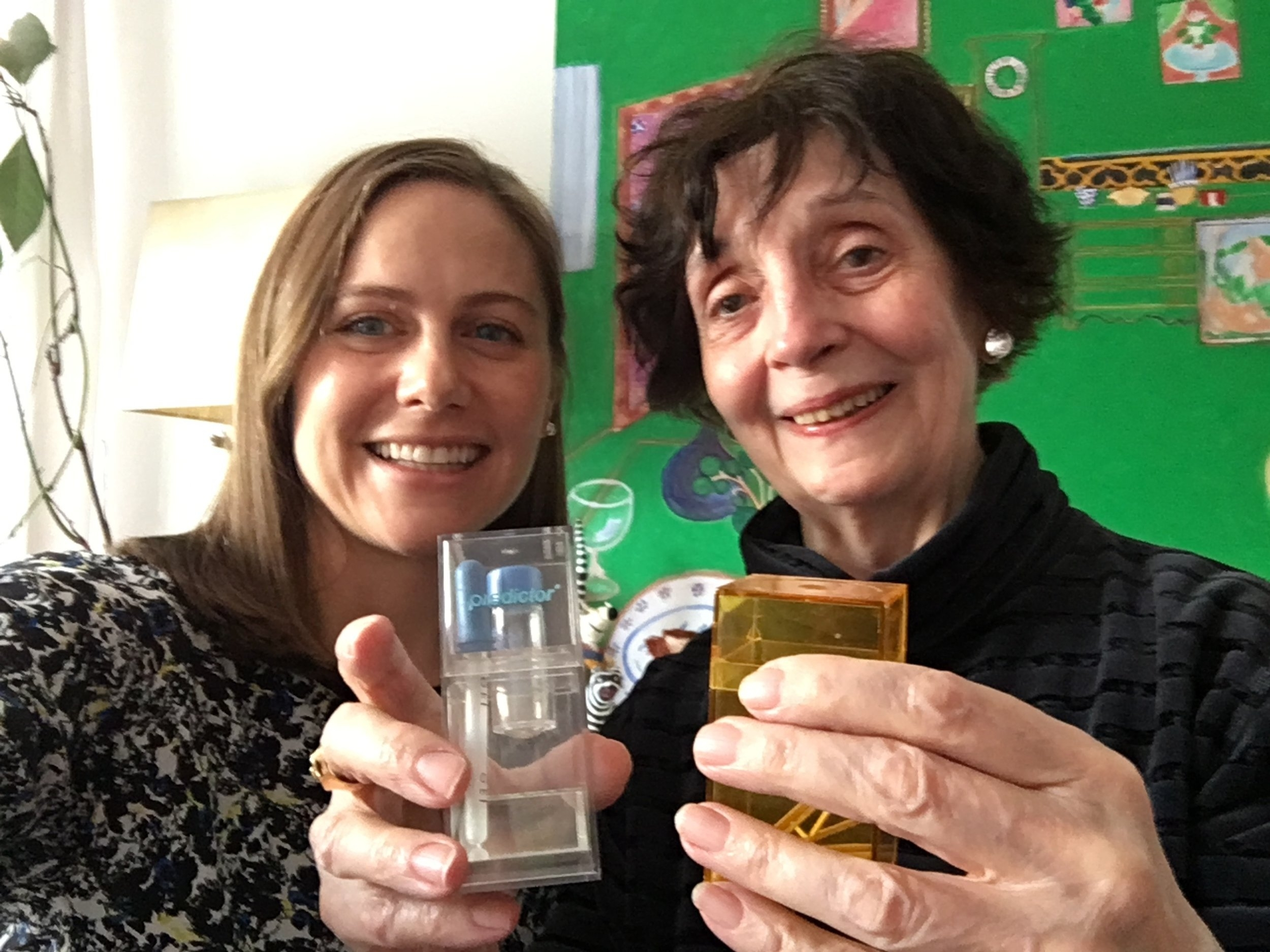 Interviewing Meg Crane who is holding the prototype of the first home pregnancy test.