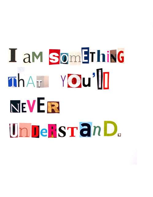 I am something you'll never understand via  nevver .