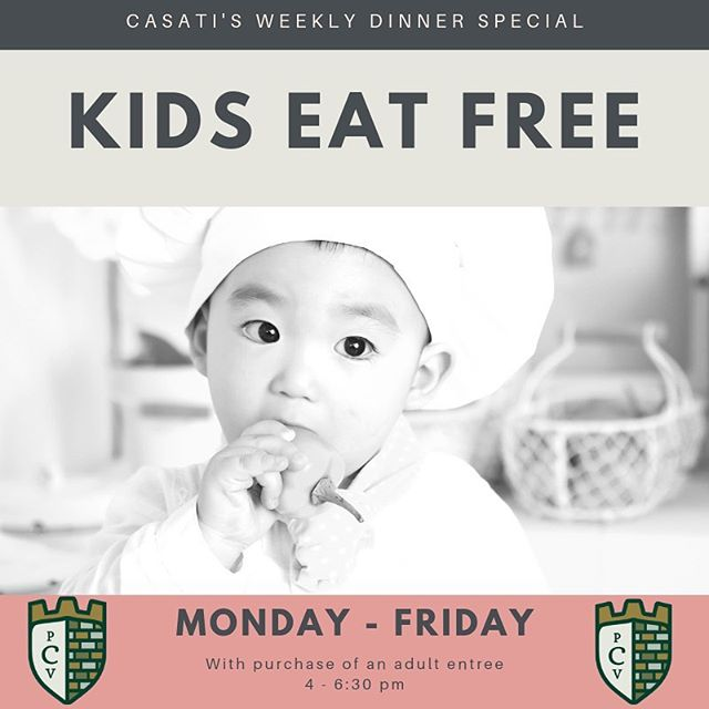 Kiddos eat FREE weeknights with purchase of an adult entree 👶🏻😊 4-6:30pm #familydinner