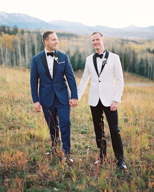 Love and early evening light in Telluride.  Planner @goldleafevent | florals @barerootflora #loveislove #telluridewedding #groomstyle