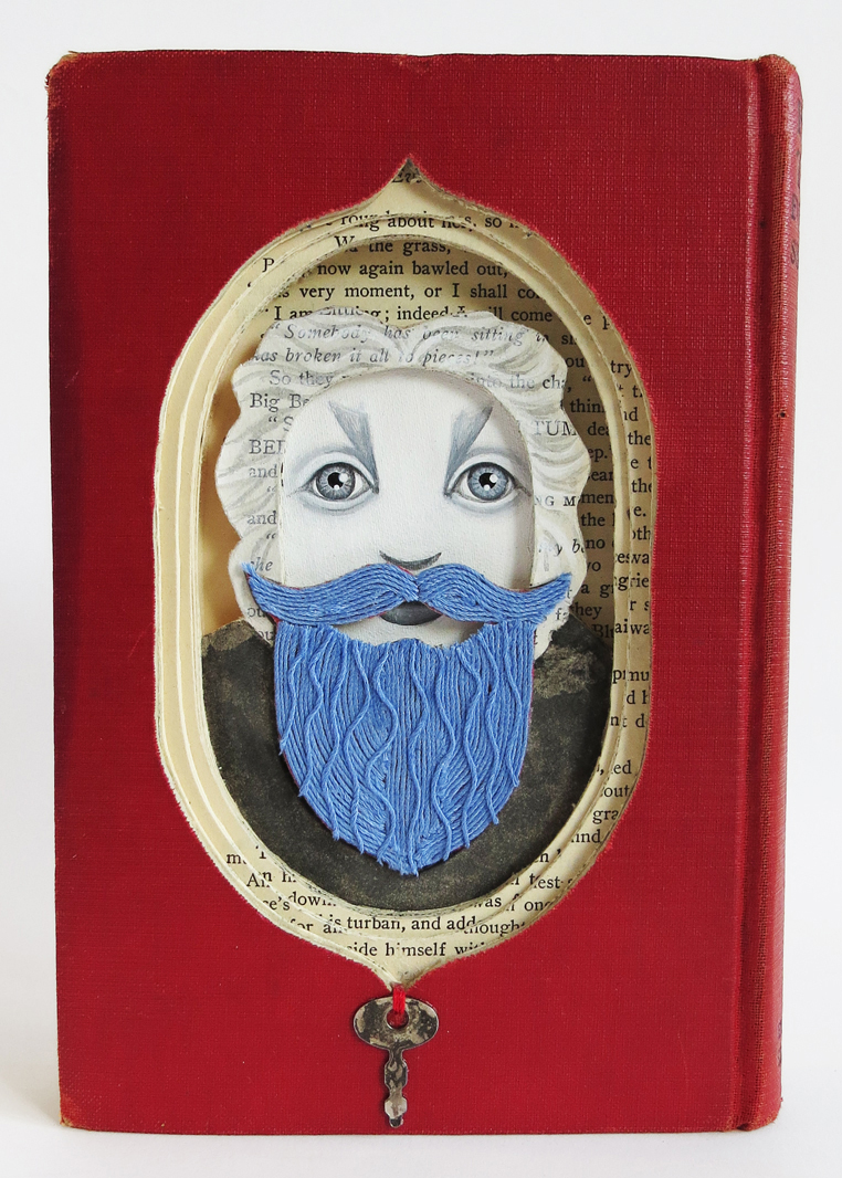 """What Doth Hide Behind That Blue Beard?,"" Valerie Savarie, altered book, string, acrylic, 7-1/2""h x 5-1/4""w, $300 ($150 from the sale of this work goes to Lighthouse' the remainder goes to the artist)"