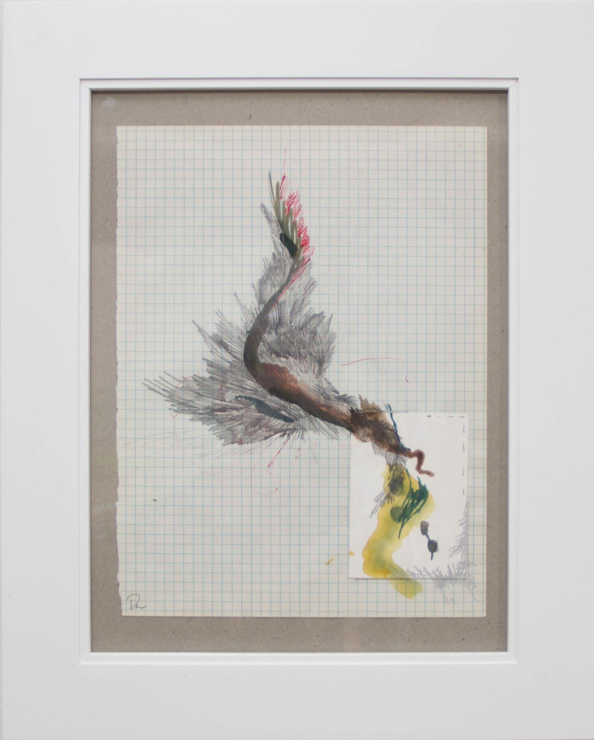 "An Accord #9 , Drew Austin, mixed media on paper, framed, 15""h x 12""w, $75"