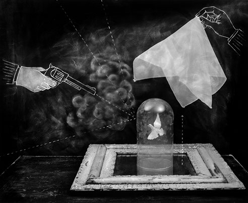 "The Smoking Gun,  Carol Golemboski, Silver print with drawing and photogram, 26"" x 29-3/4"", $1,800 (30% goes to Lighthouse's Fellowships)"
