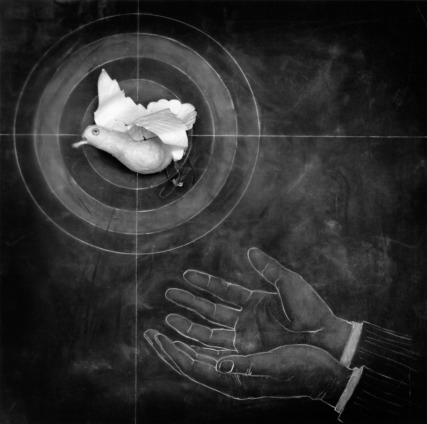 "Target Practice,  Carol Golemboski, Silver print with drawing and photogram, 21-1/4"" x 20-3/4"", $1,600 (30% goes to Lighthouse's Fellowships)"