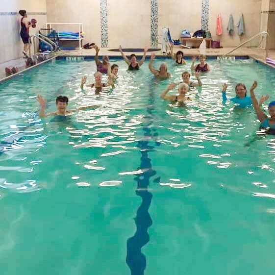 Aqua classes offer a blend of low-impact cardio moves, resistance training and stretching. Lots of benefits and loads of fun!