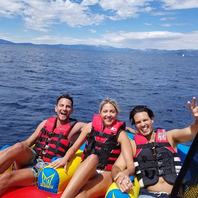 Tubing shinanigans with @missharvard and friends. We just hope you had an amazing pre-honeymoon on our very favorite lake. . Have you ever backflipped off a tube? Tell us about it below! . Want to go tubing with us this summer? DM us for more info! . #laketahoe #tahoepowersports #laketahoelife #boat #boating #tubing #waterski #wakeboarding #boatrental #privateboatcharter #waterfun #lakelife