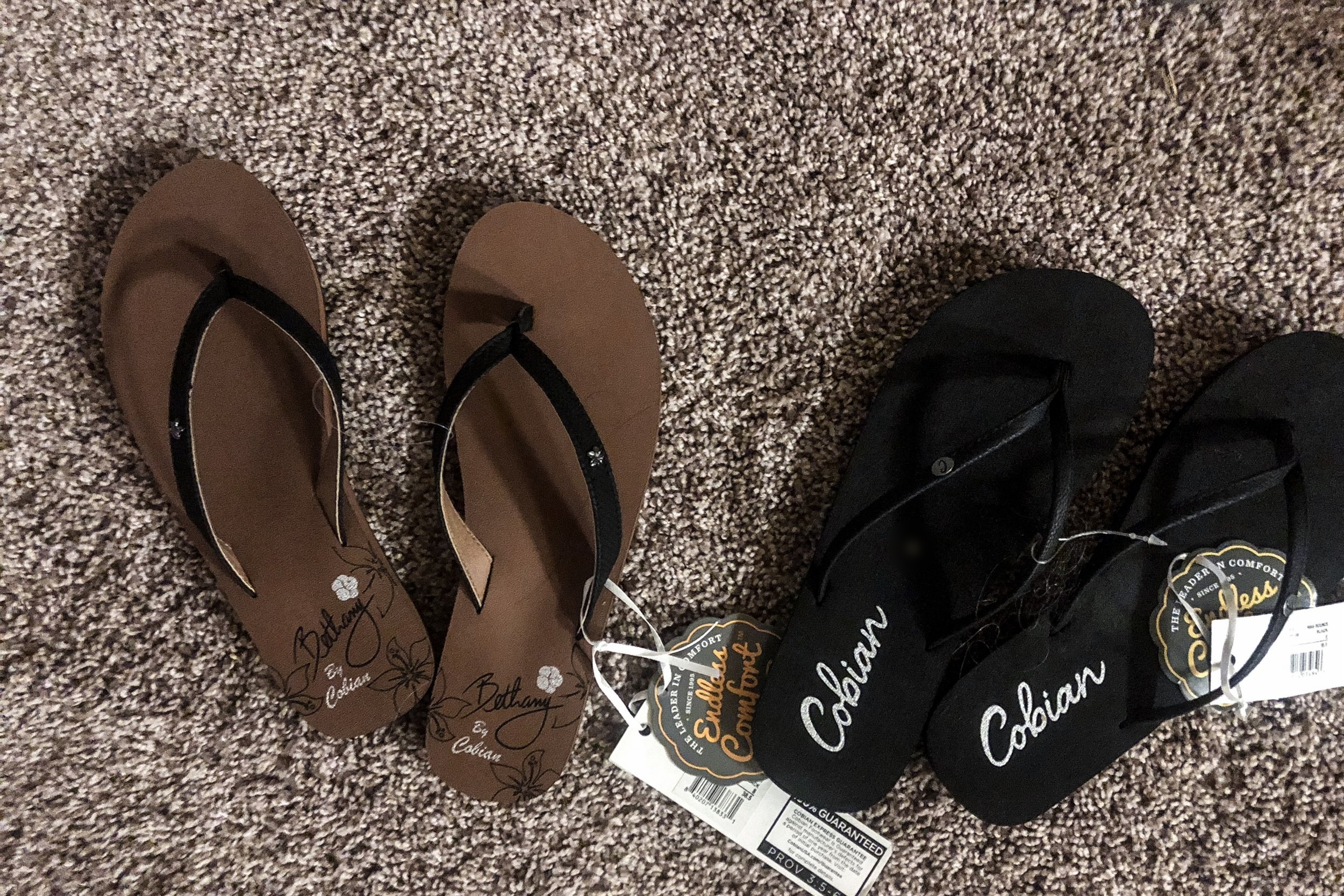 At left, the Hanalei in black from the Bethany Collection. At right, the Nias Bounce in black.