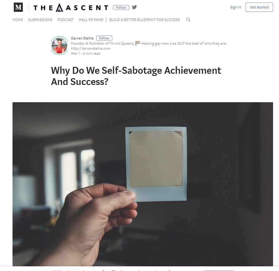 - Interesting thoughts from gay Canadian Life Coach Darren Stehle on self-sabotage and gay men