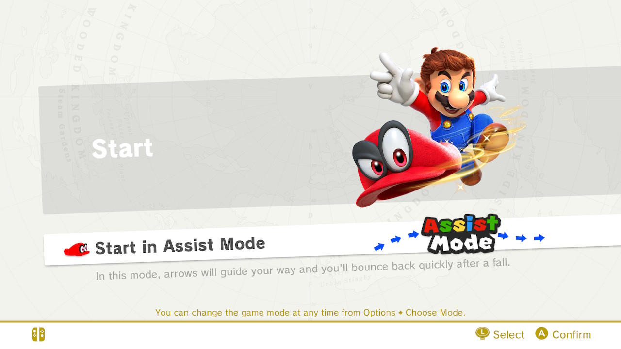 Assist mode in Nintendo's Super Mario Odyssey guides the player with arrows throughout the game.