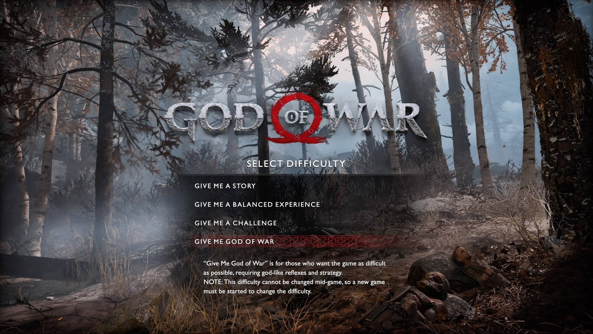 Players can choose the difficulty setting of God of War