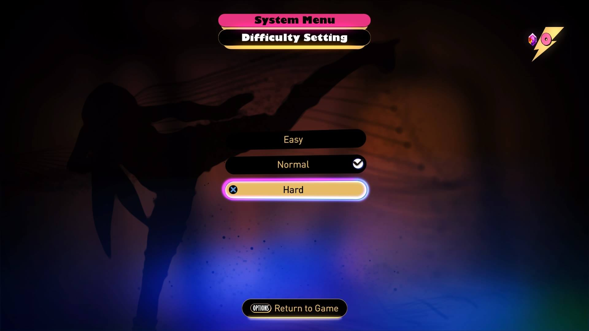 Setting the difficulty in Gravity Rush 2. Some games don't tell you about the changes it makes.