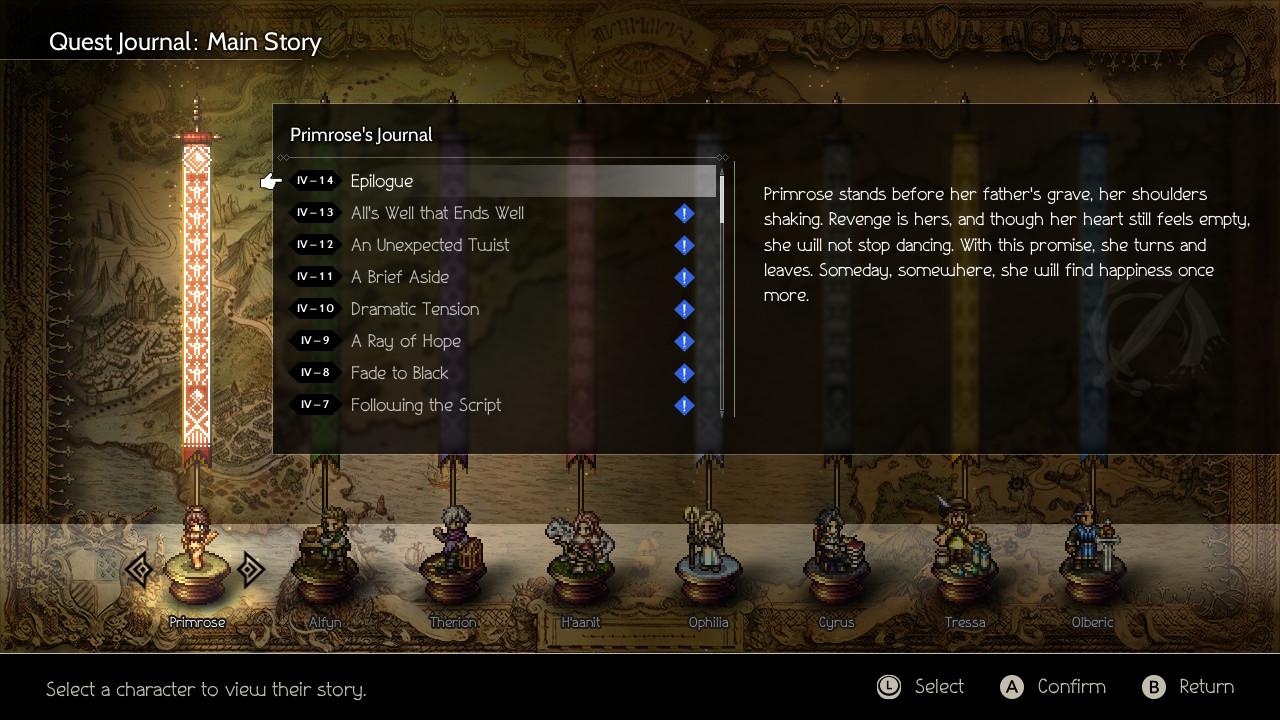 Octopath Traveler (Square-Enix/Nintendo) features 8 different stories