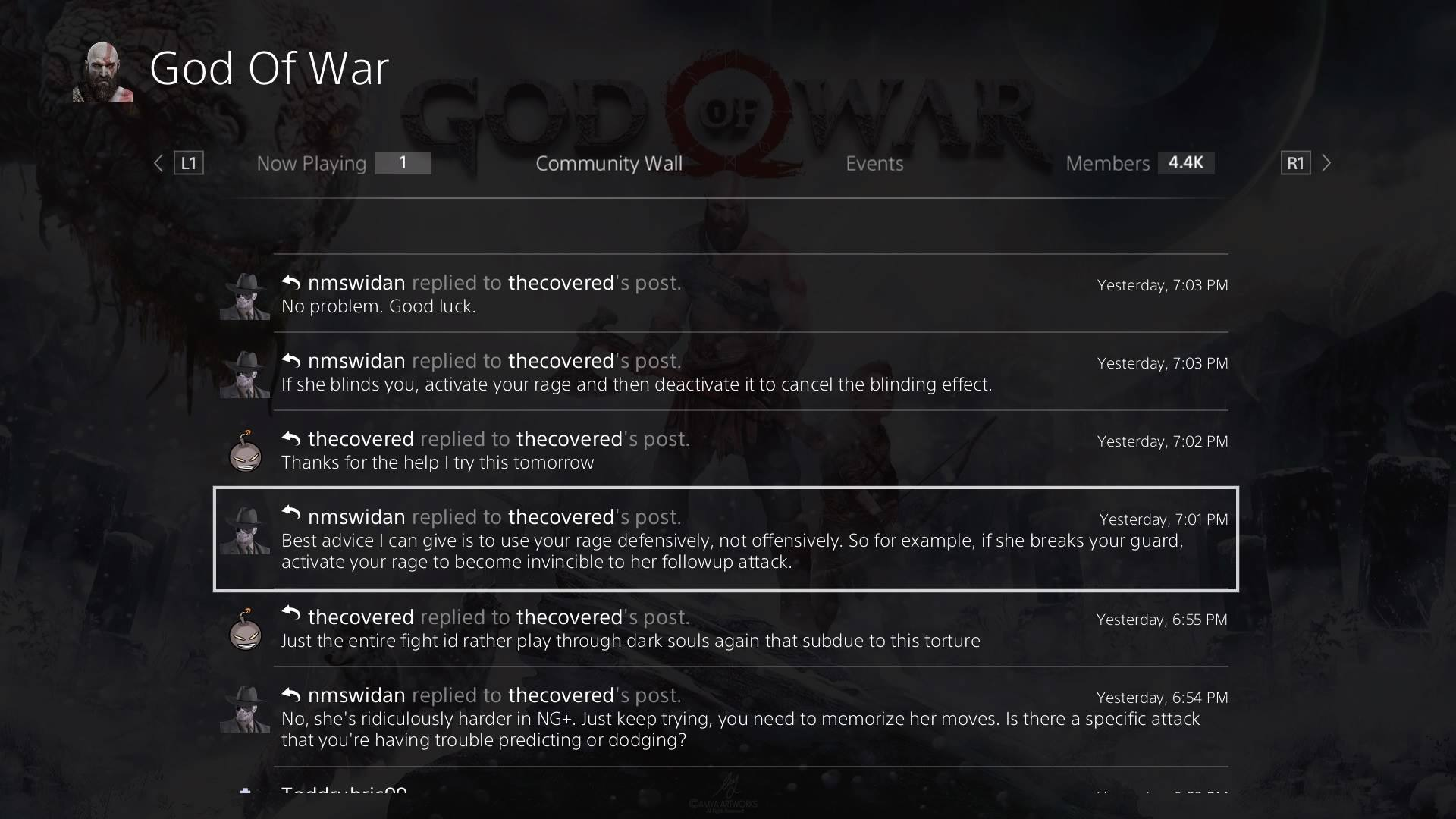 Players share advice in a God of War Community message board on Sony's PSN Network